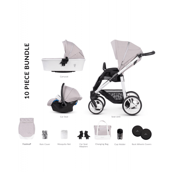 Venicci Pure 2.0 3 in 1 Travel System (10 Piece Bundle) - Vanilla