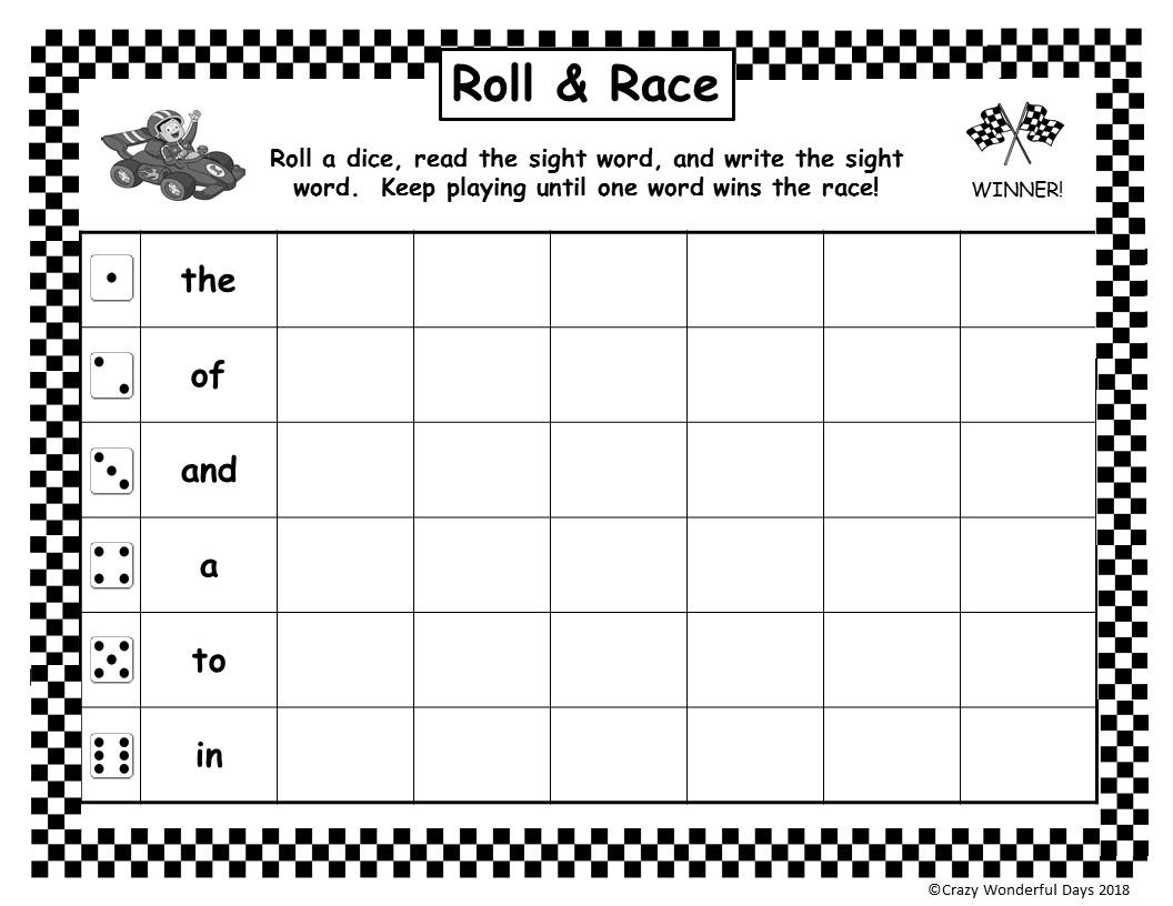 Roll Amp Race Fun Writing Sight Words