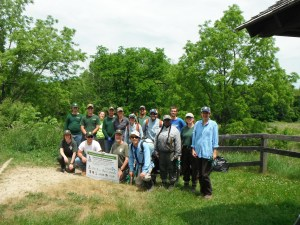 CWMA Partners worked together at Wetmore Conservation Area (Summit Metro Parks) for National Trails Day