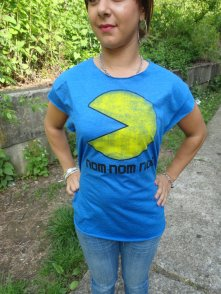 Blue super soft Pac Man reconstructed weaved shirt.