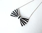 Black and White Stripe Bowtie