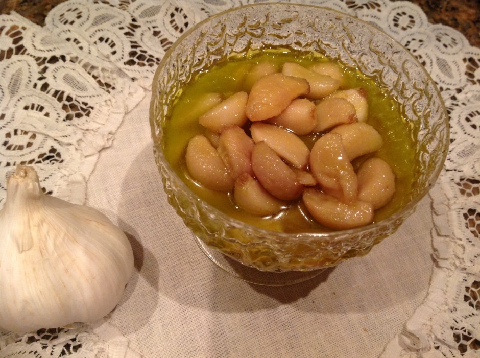 Some of the garlic confit with its perfumed oil