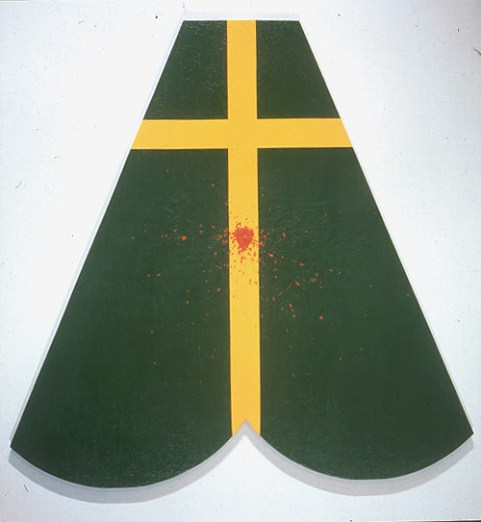 El Papa Verde, 1995, acrylic and sawdust on canvas and glass beads, 66 x 66 inches