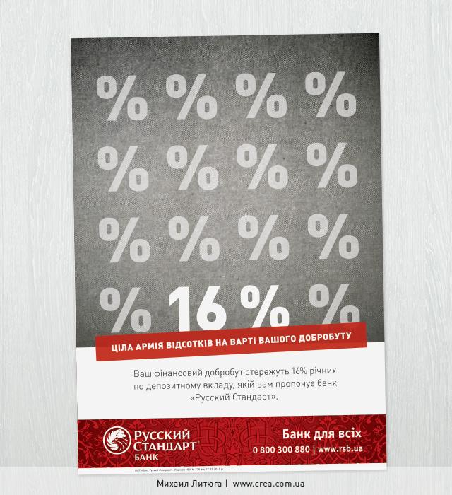 Концепция печатной рекламы депозита 16% от банка «Русский Стандарт»