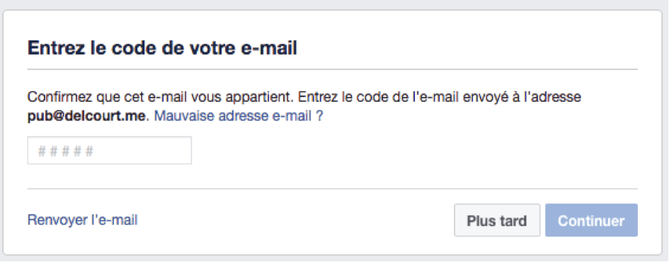 Fenêtre de validation de code de Facebook