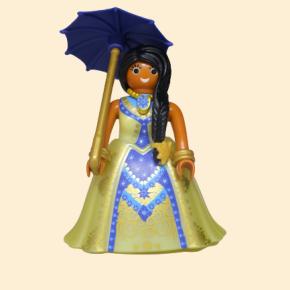 playmobil princesse brune robe jaune et bleue avec ombrelle