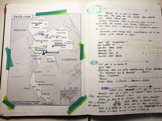 Itinéraire - bujo - journal de bord