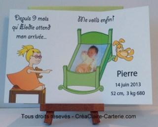 """Faire part de naissance original avec dessins et photos  """"9 mois à attendre"""" - Intérieur"""