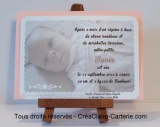 """Faire part personnalisé de naissance """"Doux papillon"""" rose"""