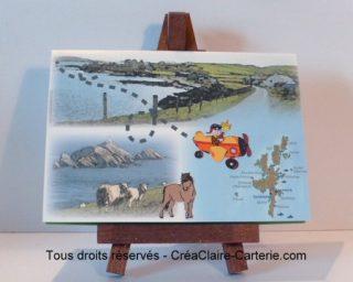 """Carte anniversaire personnalisée """"voyage aux iles shetland"""" - Ref: MOD-008"""