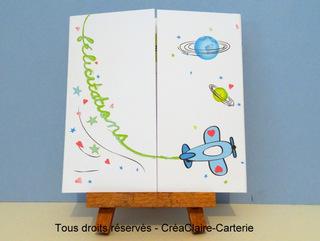 """Félicitation de naissance illustrée personnalisée  """"Sur une planète"""" - Ref: MOD-012"""