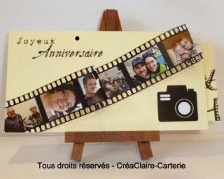 """Carte anniversaire originale personnalisée avec photos """"Photos en famille"""" - Ref: MOD-011"""