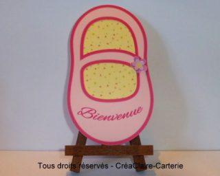 """Félicitation naissance fille personnalisée """"Chausson rose"""" - Ref: MOD-013"""