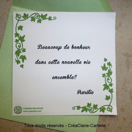 Carte de félicitations mariage vendange personnalisée photo- Dos