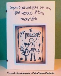 Félicitations mariage carnet personnalisé texte photo - face