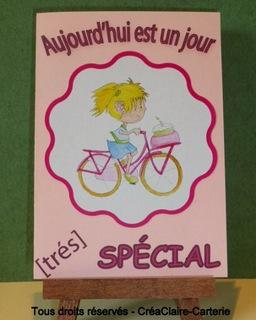 """Carte d'anniversaire rose personnalisée avec dessins """"Vélo de fille"""" - REF: MOD-027"""