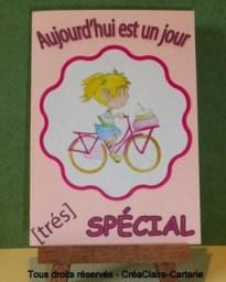 Carte anniversaire personnalisé rose dessin vélo fille