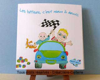 faire part de naissance personnalisé entre frères en voiture avec photo et dessin-mini