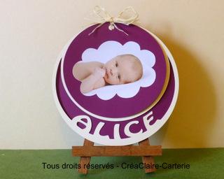 """Faire-part de naissance rond personnalisé avec prénom découpé et photo """"Sur un Nuage"""" - Ref: MOD-025"""