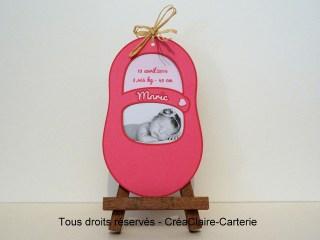 Faire-part naissance personnalisé chausson photo découpe-face