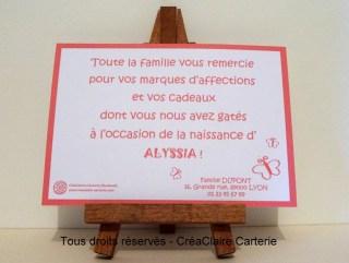 Remerciements cadeaux naissance personnalisé photo 1000 mercis-dos
