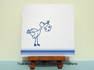 faire part naissance personnalisé photo cigogne bleue -mini