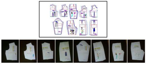 Sistema de diseño de ropa de mujer en 5 tallas comerciles