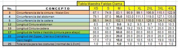 tabla de medidas de 8 tallas de faldas