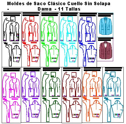 Molderia de saco elegante en 11 tallas comerciales de dama