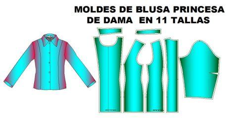 Tallaje de Moldes de blusa clasica corte princesa