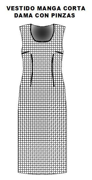 moldes para confeccionar vestido con pinzas en cintura y busto