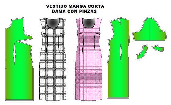 MOldes de vestido recto con pinzas manga corta o sin mangas