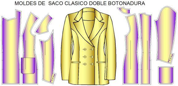 Moldes de saco doble cruce o doble botonadura