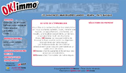 1ère version de OK!Immo, site regroupant les annonces immobilières des professionnels de l'immobilier du Pays Basque, Béarn et Landes