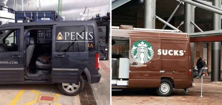 20 pubs qui n'ont pas été réfléchies avant d'être placées sur un véhicule