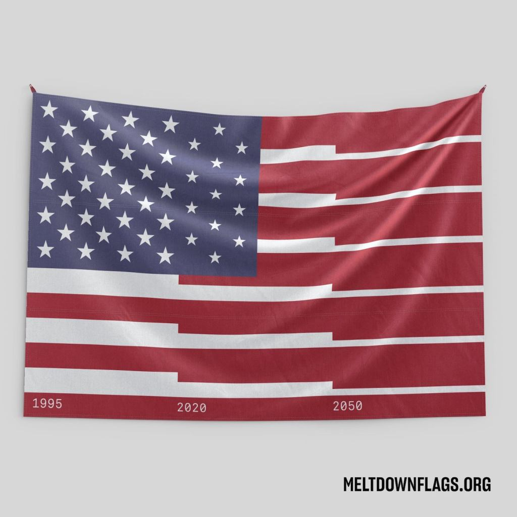 Le drapeau des États-Unis selon l'évolution de la fonte des glaces