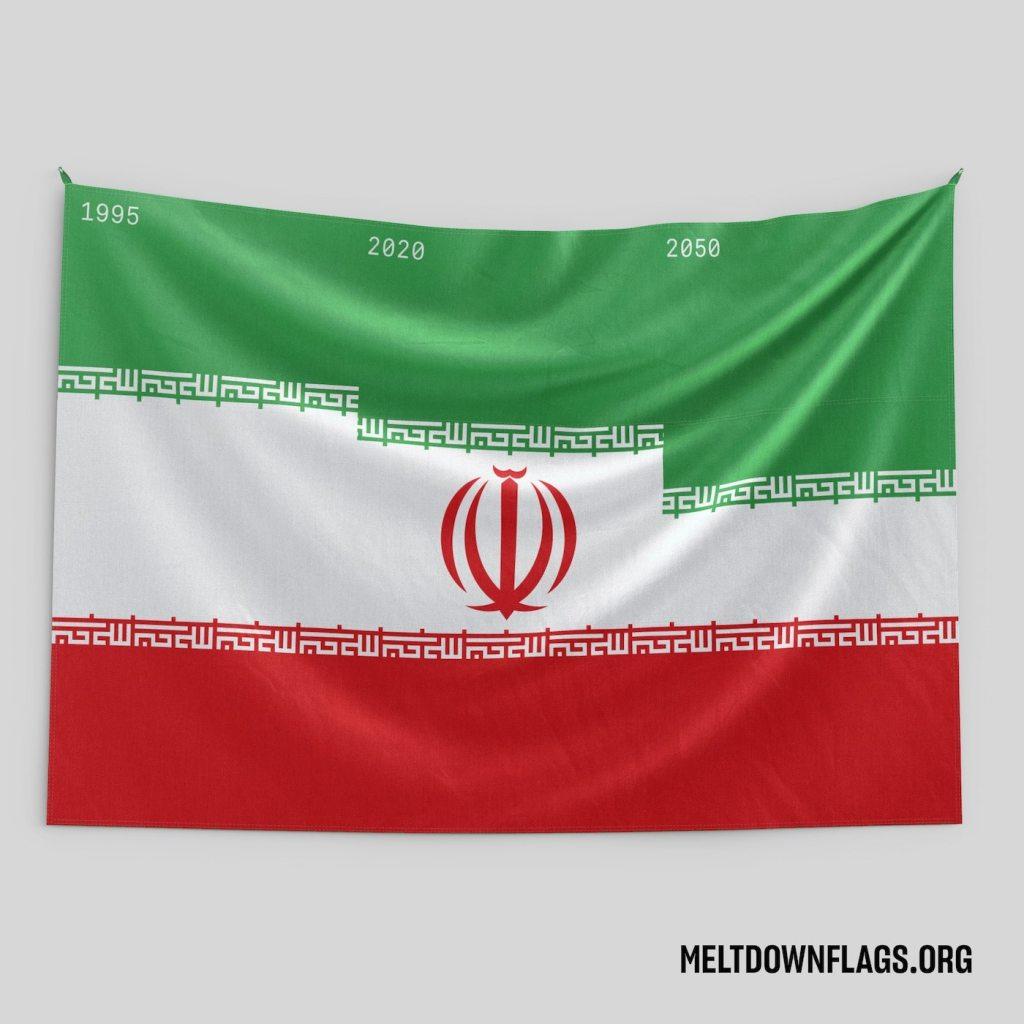 Le drapeau de l'Iran selon l'évolution de la fonte des glaces