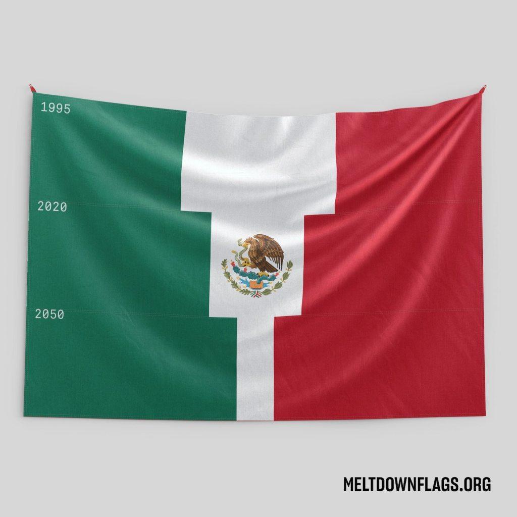 Le drapeau du Mexique selon l'évolution de la fonte des glaces