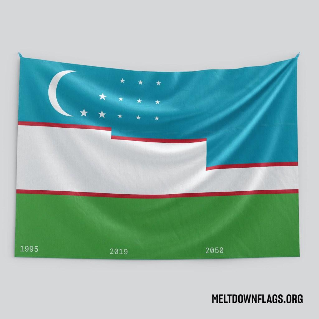 Le drapeau de l'Ouzbékistan selon l'évolution de la fonte des glaces
