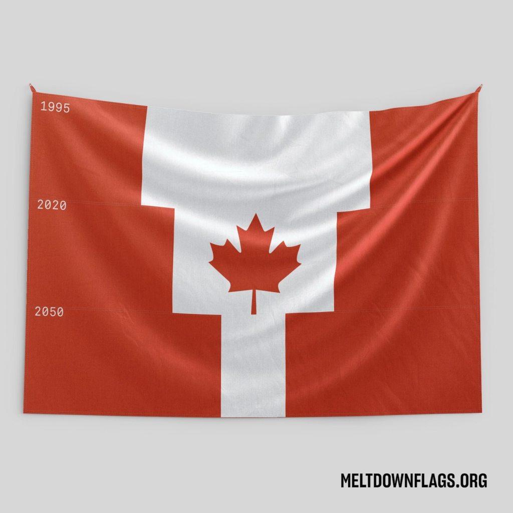 Le drapeau du Canada selon l'évolution de la fonte des glaces