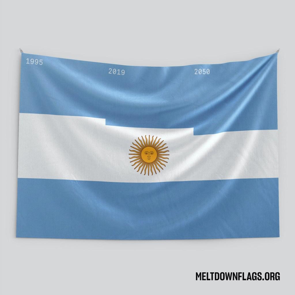 Le drapeau de l'Argentine selon l'évolution de la fonte des glaces
