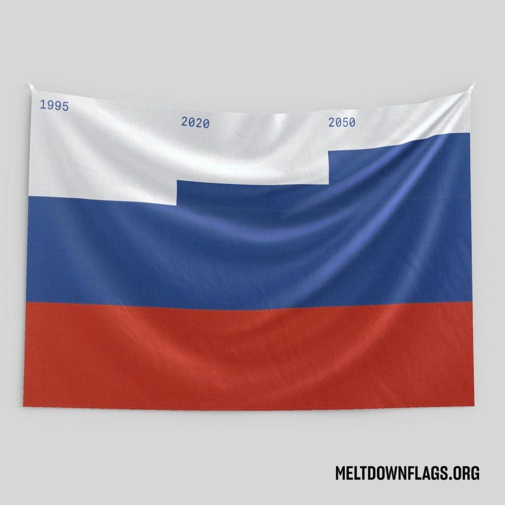 Le drapeau de la Russie selon l'évolution de la fonte des glaces