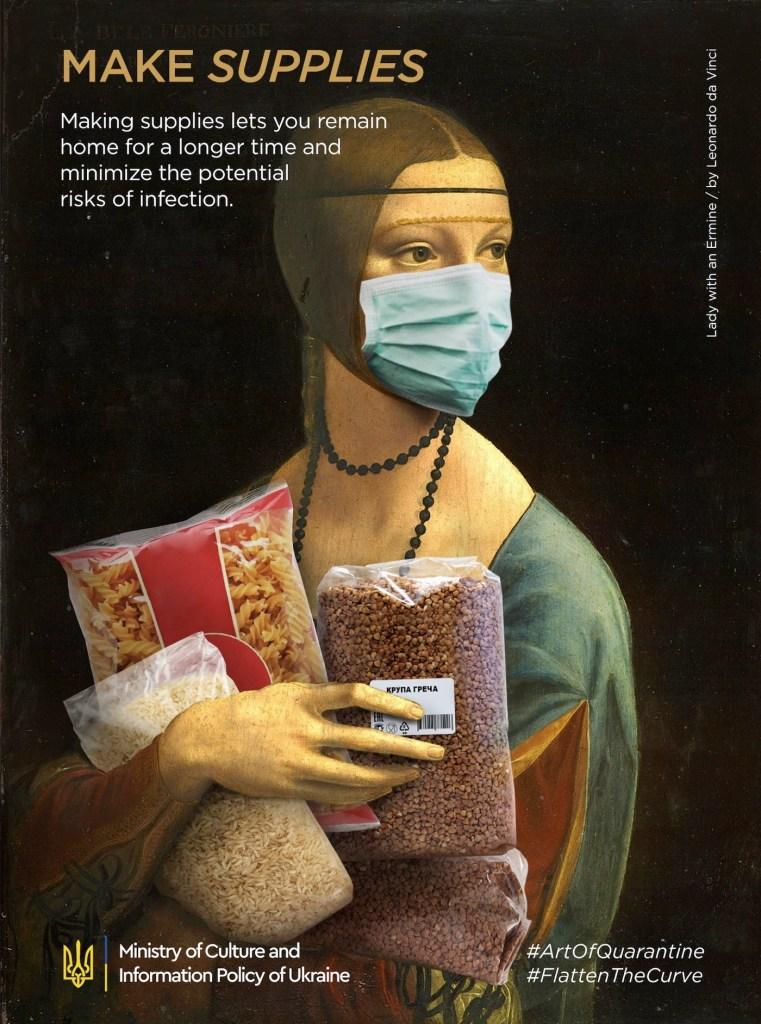 """Détournement du tableau """"La Dame à l'hermine"""" par Léonard de Vinci"""