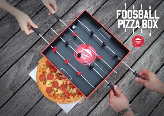 Pizza Hut crée une boîte à pizza qui se recycle en babyfoot