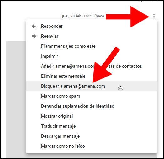 Bloquear remitente Gmail