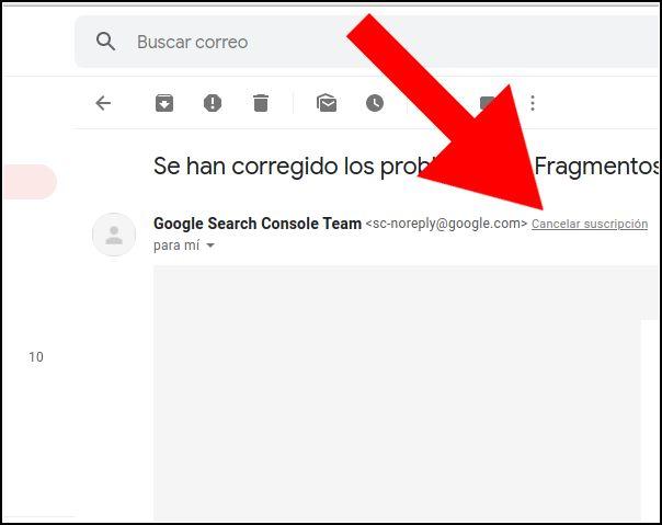 cancelar suscripción en Gmail