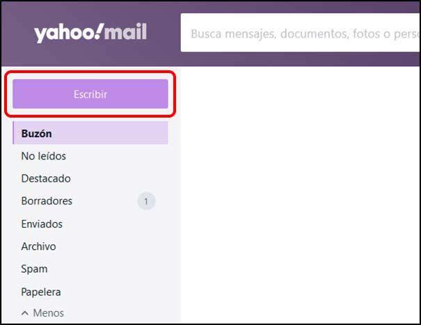 Nuevo email en Yahoo