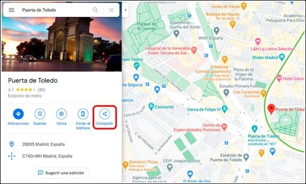 botón compartir Google Maps