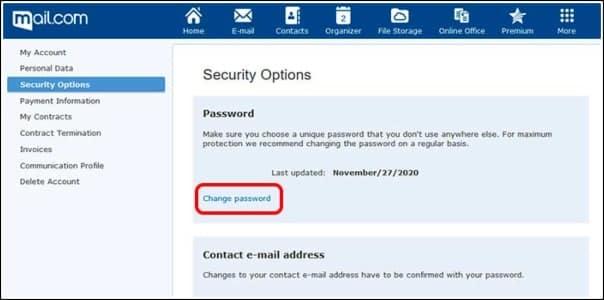 cambiar contraseña Mail.com