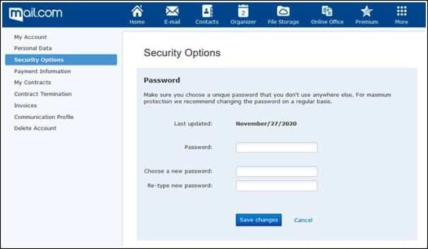 cambio pass Mail.com